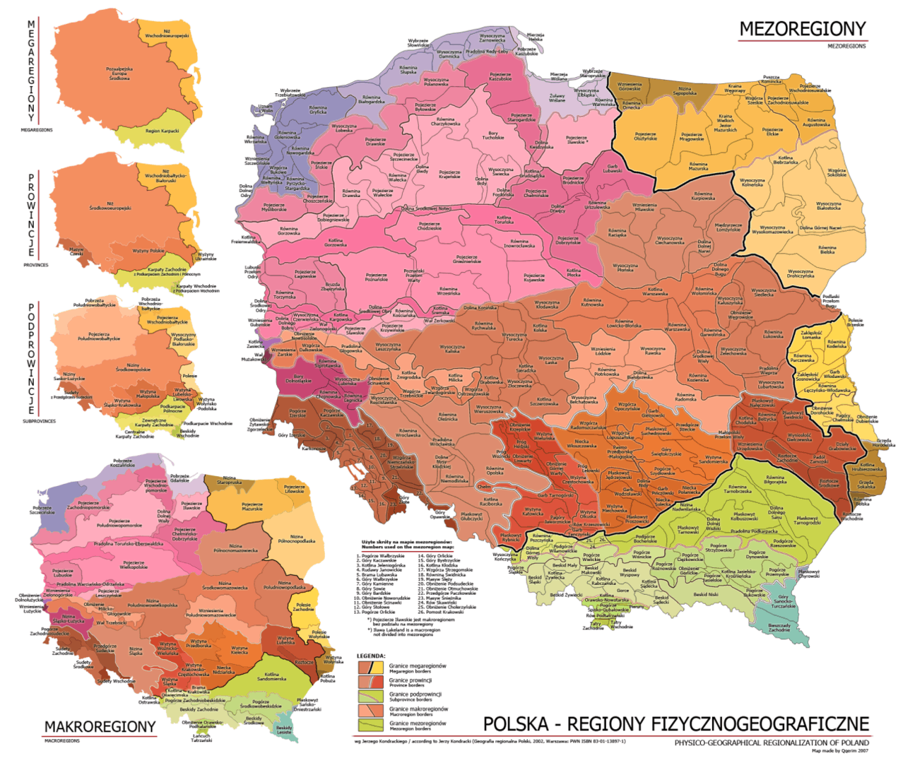 Mapa regionów fizycznogeograficznych Polski