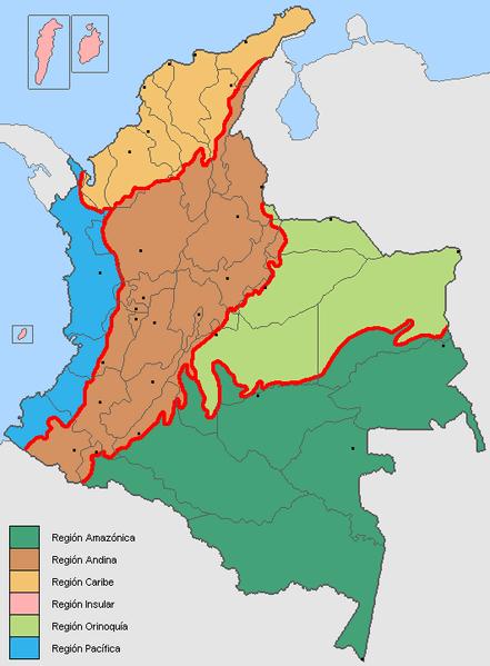 Mapa regionów przyrodniczych Kolumbii