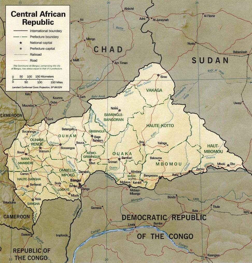 Mapa Republiki Środkowoafrykańskiej