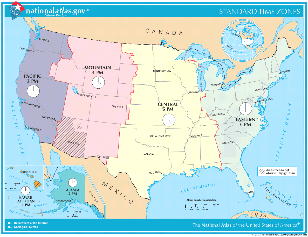 Mapa stref czasowych Stanów Zjednoczonych