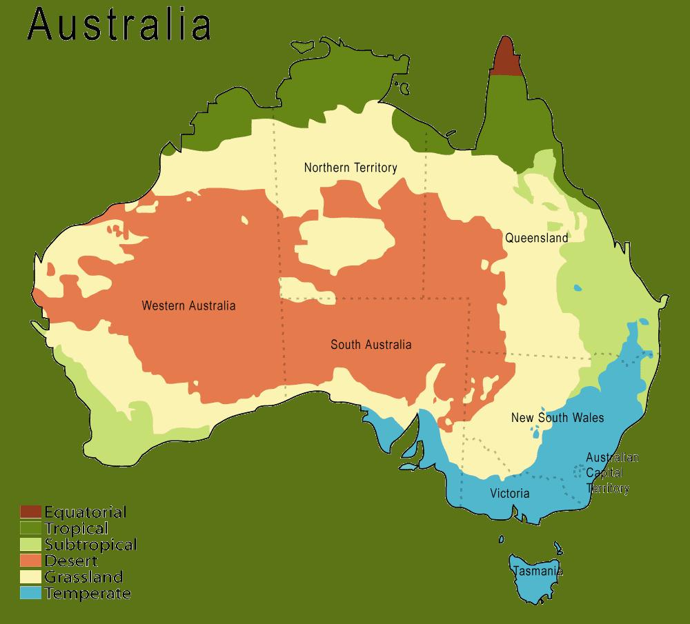 Mapa stref klimatycznych Australii