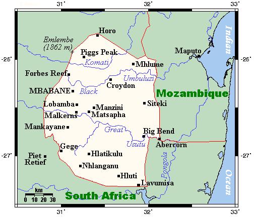 Mapa Suazi