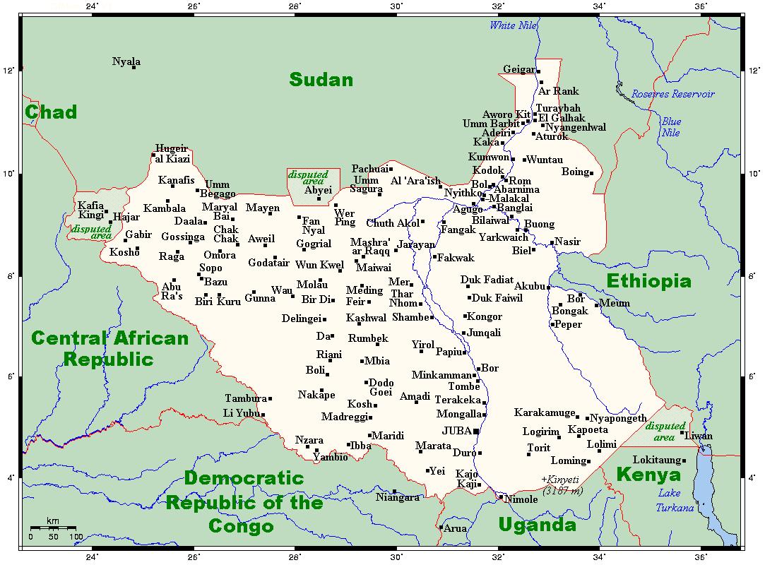 Mapa Sudanu Południowego