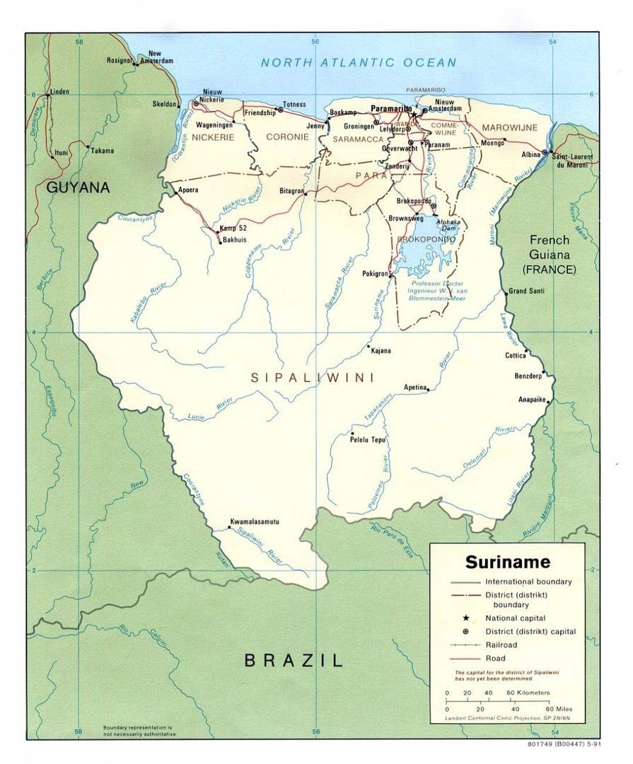 Mapa Surinamu