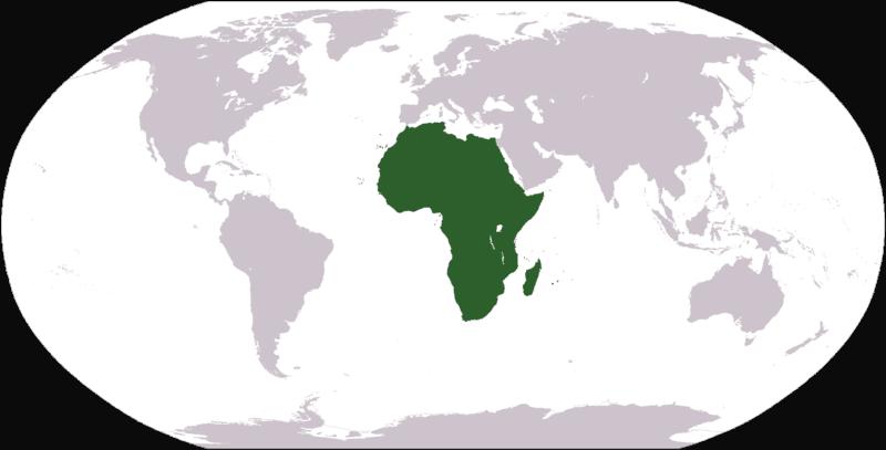 Mapa Świata - widok Afryki na tle innych kontynentów