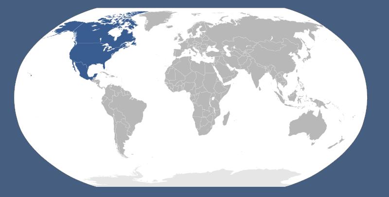 Mapa Świata - widok Ameryki Północnej na tle innych kontynentów