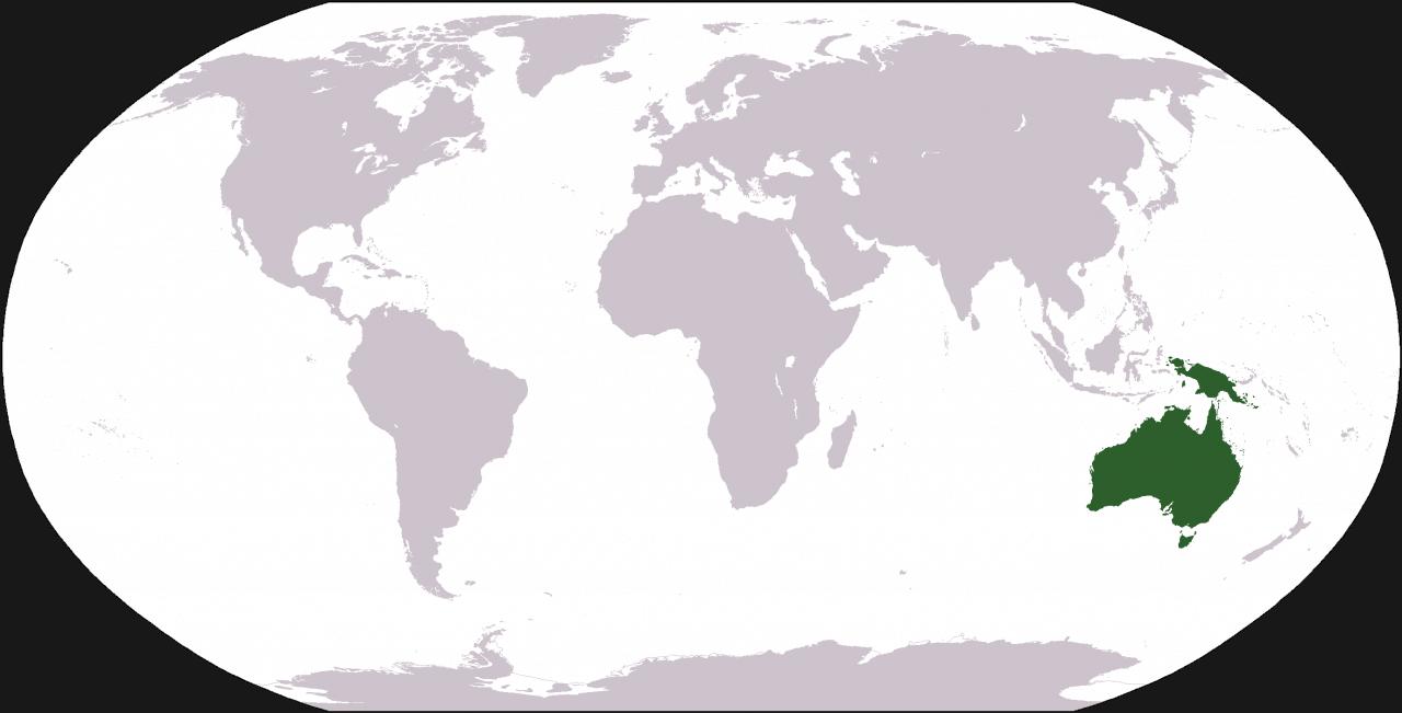 Mapa świata - widok Australii na tle innych kontynentów