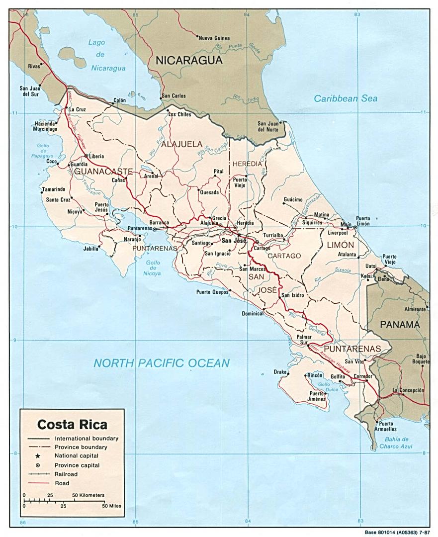 Mapa szczegółowa Kostaryki