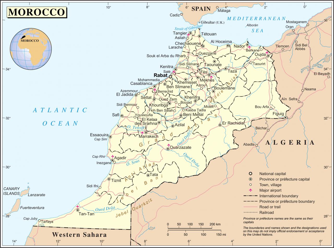 Mapa szczegółowa Maroka