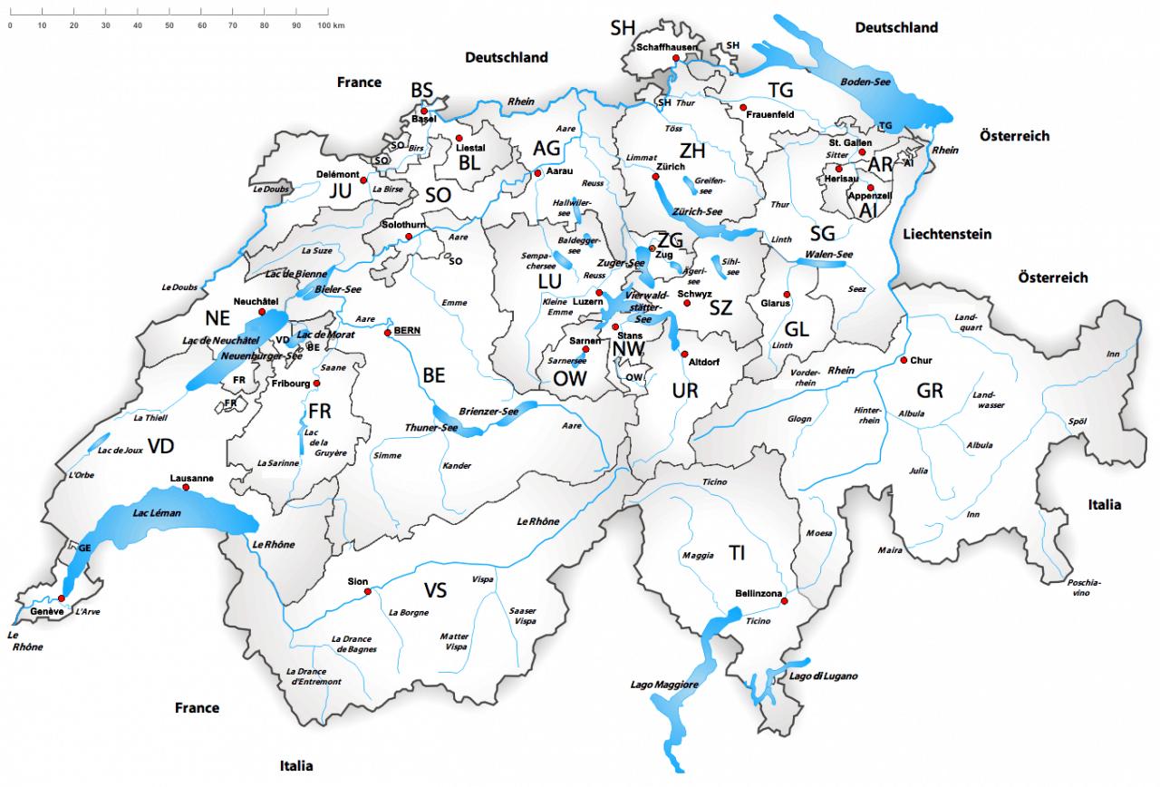 Mapa Szwajcarii z kantonami i jeziorami