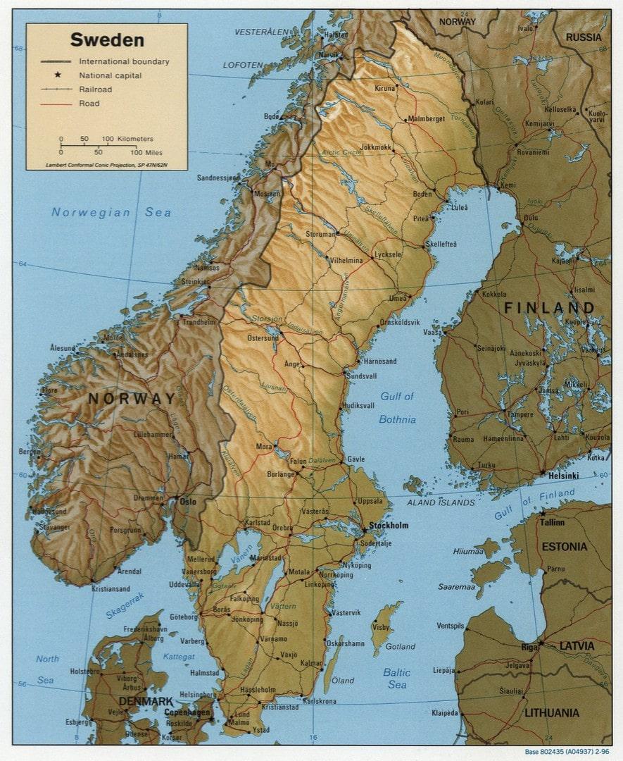 Szwecja Mapa Mapy Szwecji Travelin