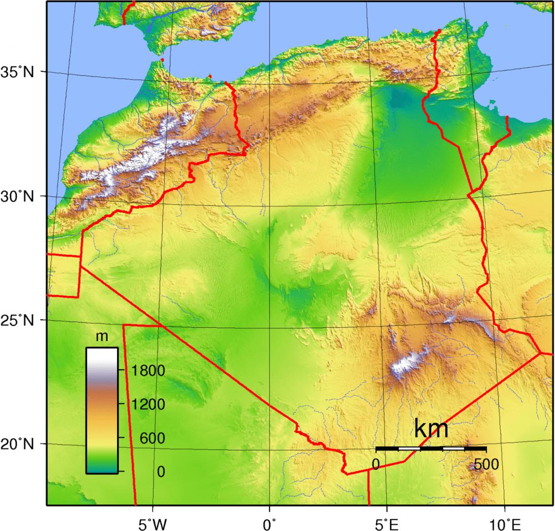 Mapa topograficzna Algierii