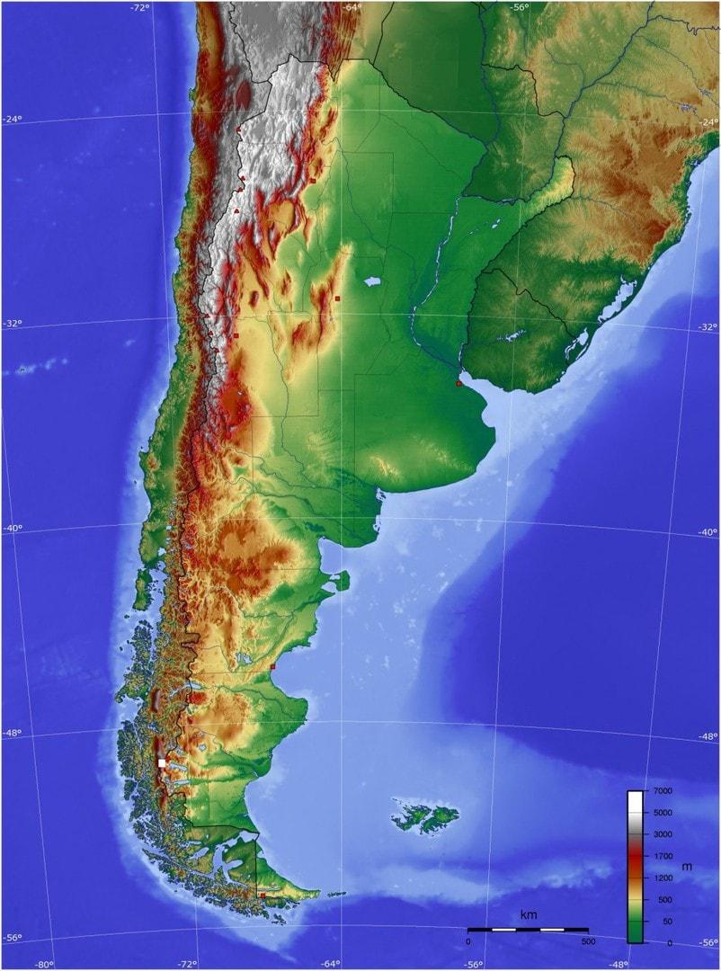 Mapa topograficzna Argentyny