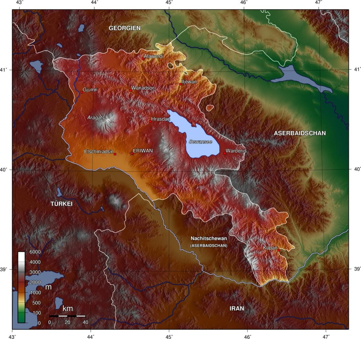Mapa topograficzna Armenii