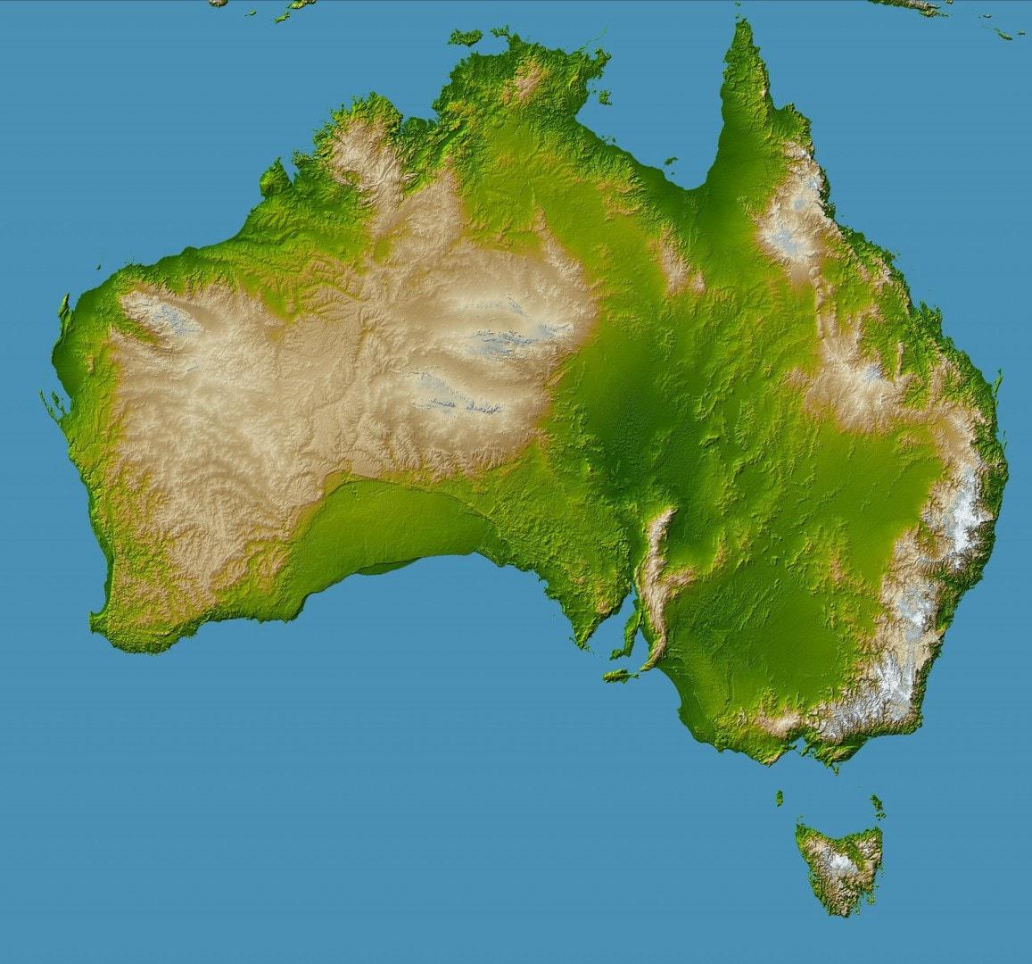 Mapa topograficzna Australii