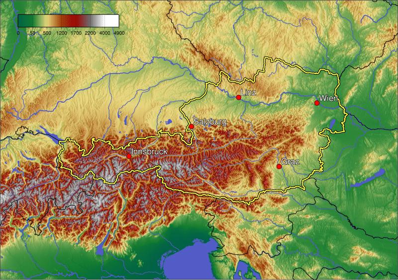 Mapa topograficzna Austrii