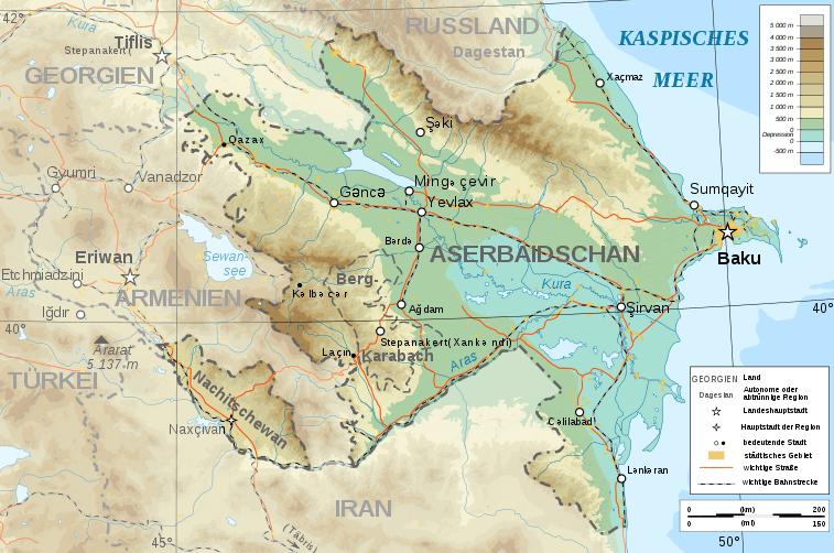 Mapa topograficzna Azerbejdżanu