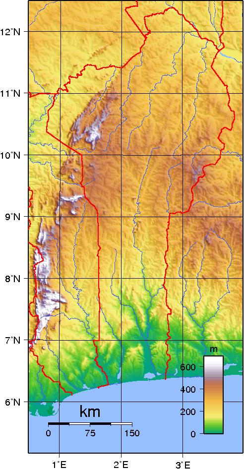 Mapa topograficzna Beninu