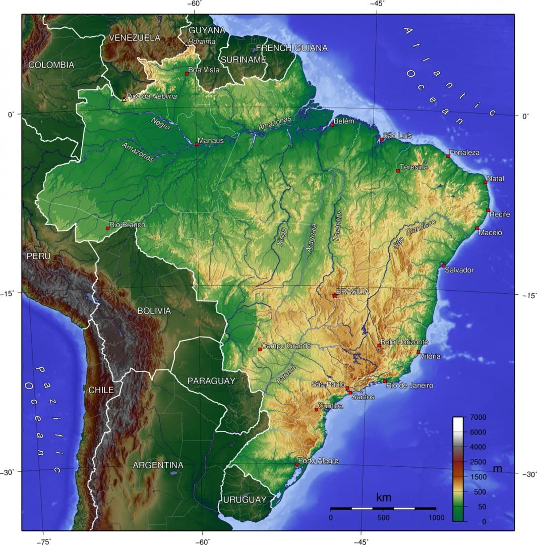 Mapa topograficzna Brazylii