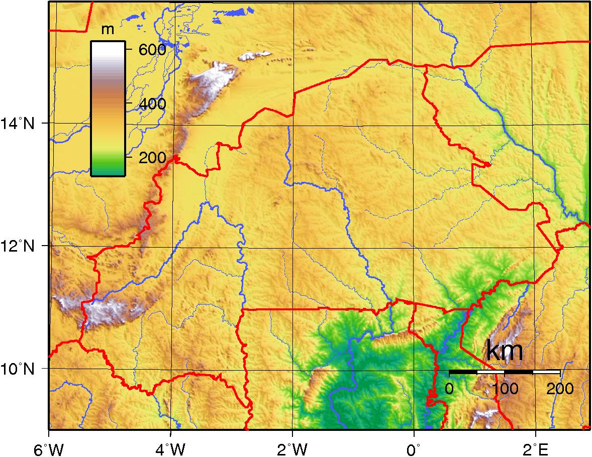 Mapa topograficzna Burkina Faso