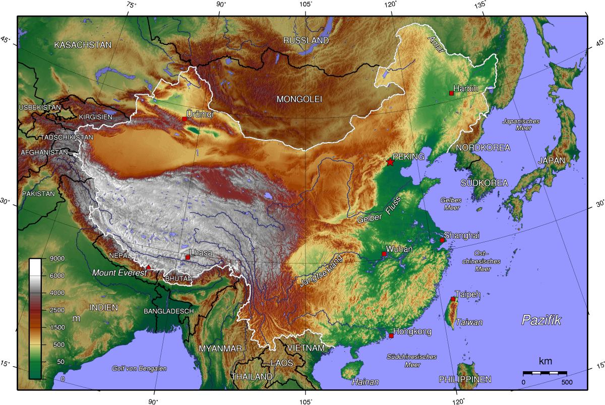 Mapa topograficzna Chin