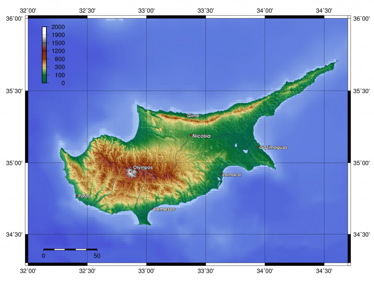 Mapa topograficzna Cypru