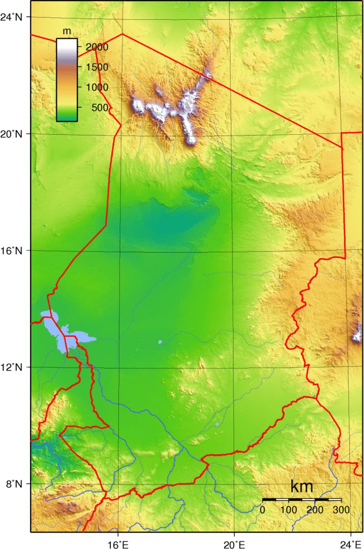 Mapa topograficzna Czadu