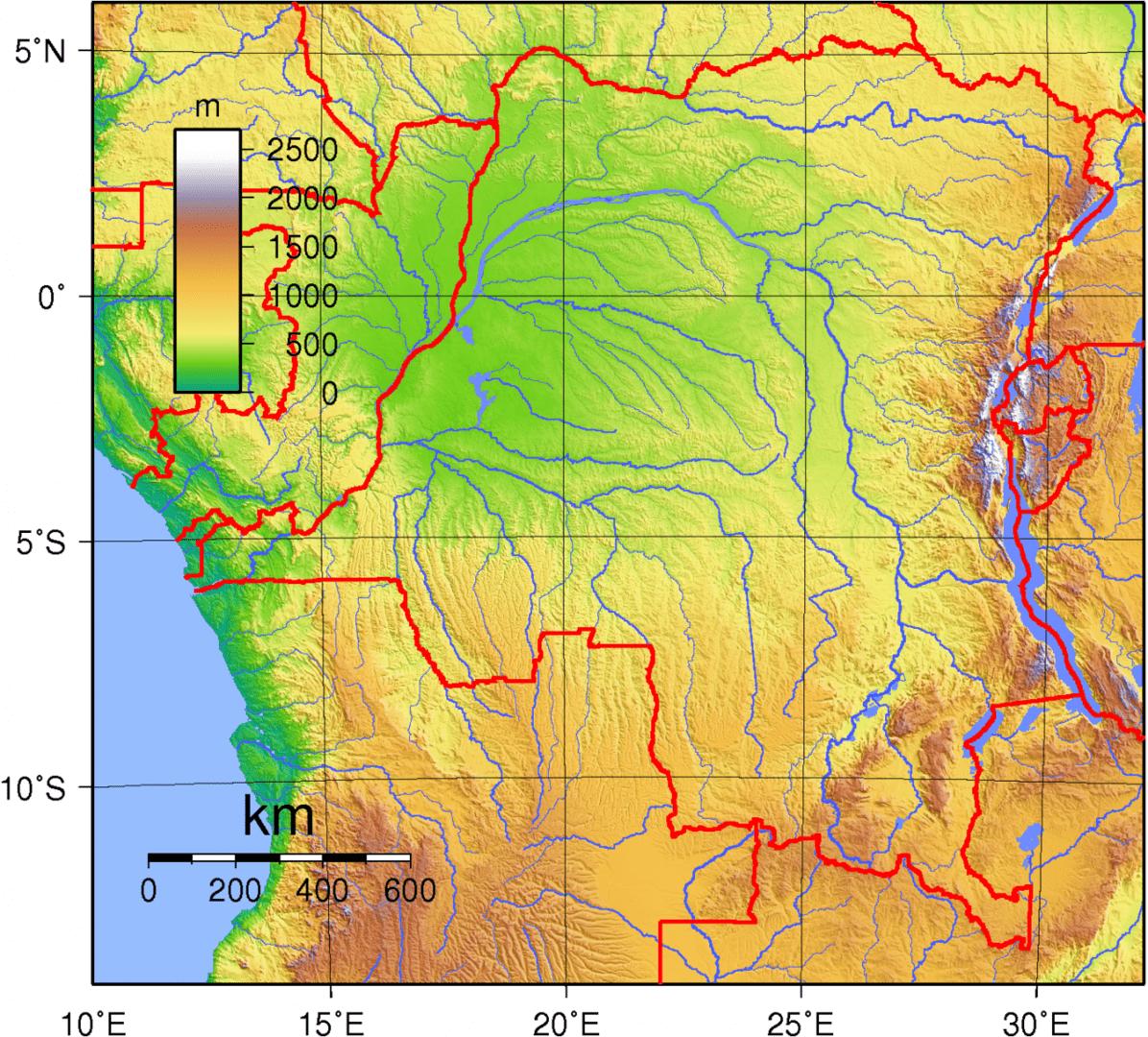 Mapa topograficzna Demokratycznej Republiki Konga