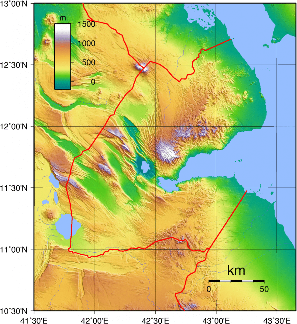 Mapa topograficzna Dżibuti