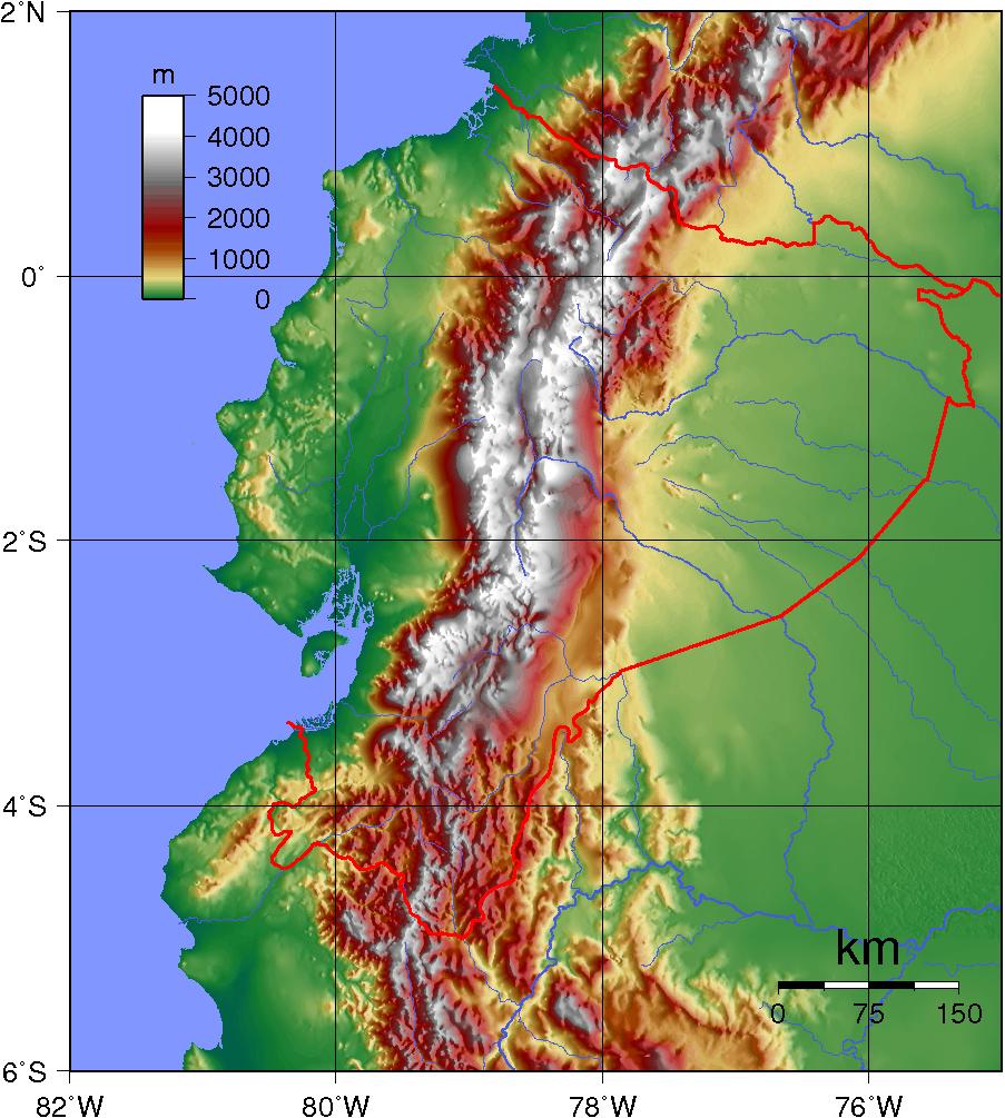 Mapa topograficzna Ekwadoru