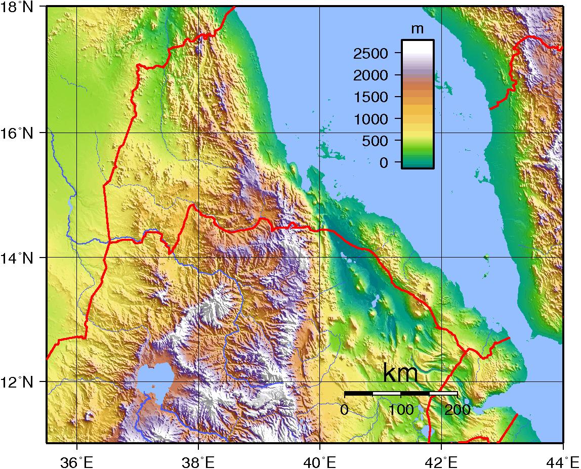 Mapa topograficzna Erytrei