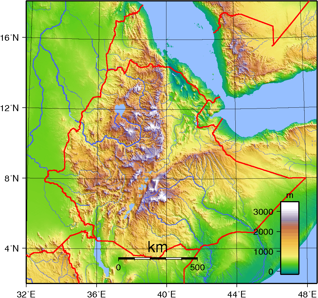 Mapa topograficzna Etiopii