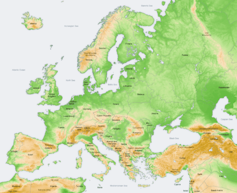 Mapa Topograficzna Europy