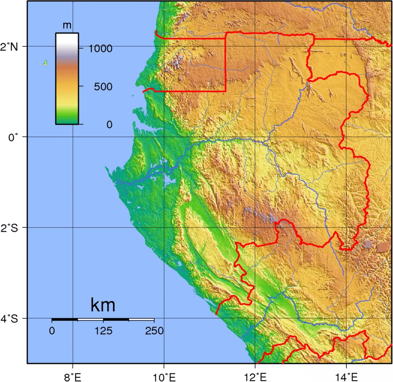 Mapa topograficzna Gabonu