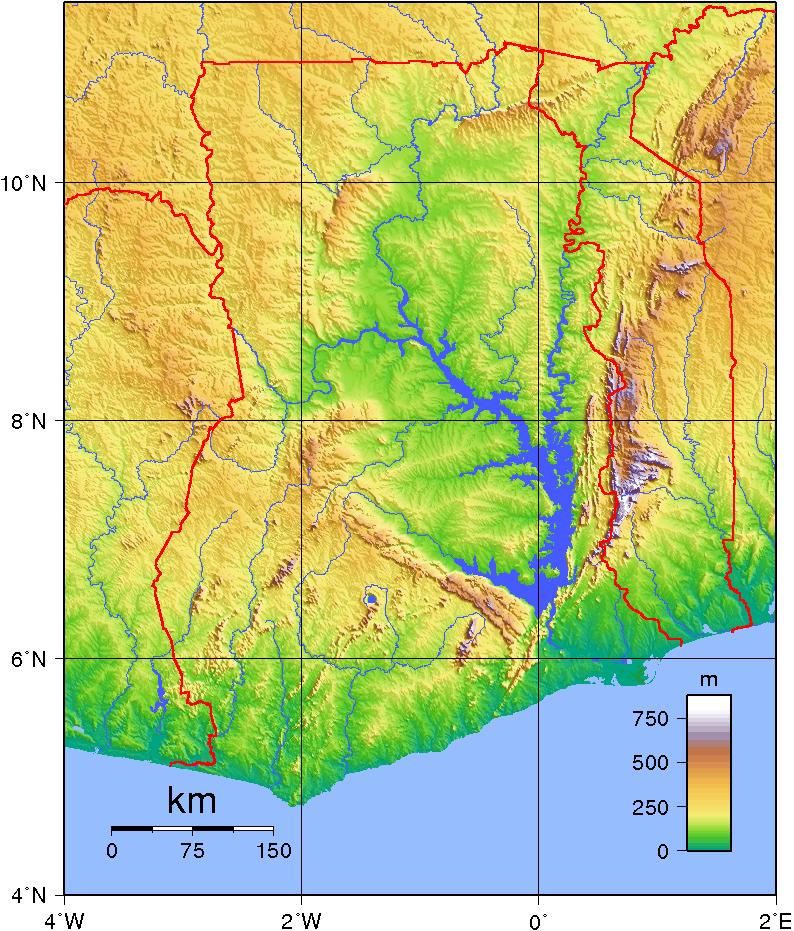 Mapa topograficzna Ghany