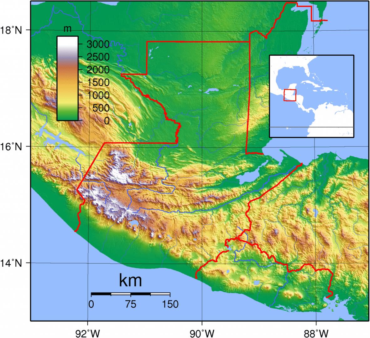 Mapa topograficzna Gwatemali