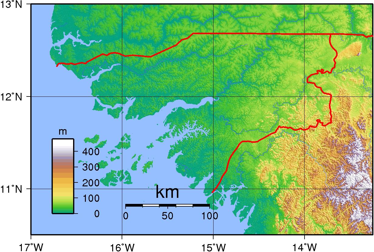 Mapa topograficzna Gwinei Bissau