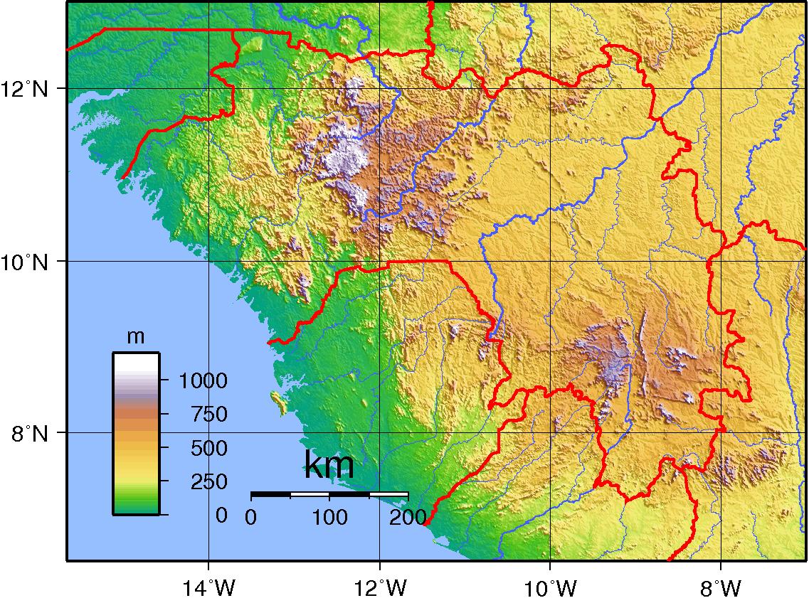 Mapa topograficzna Gwinei
