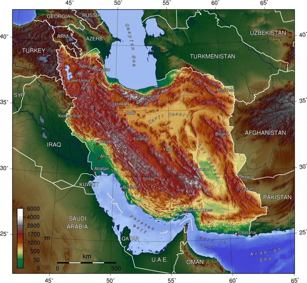 Mapa topograficzna Iranu