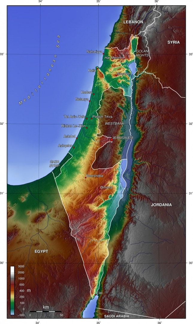 Mapa topograficzna Izraela