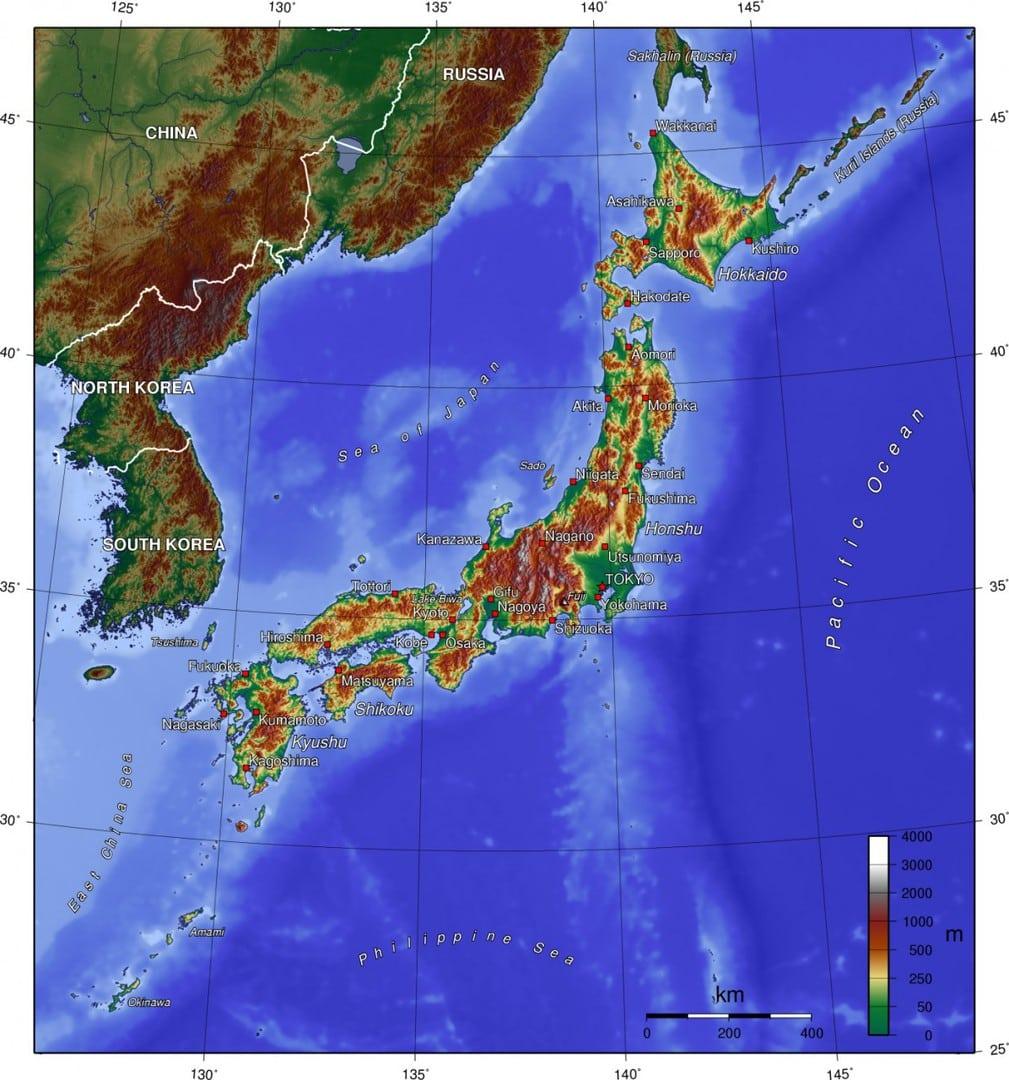 Mapa topograficzna Japonii