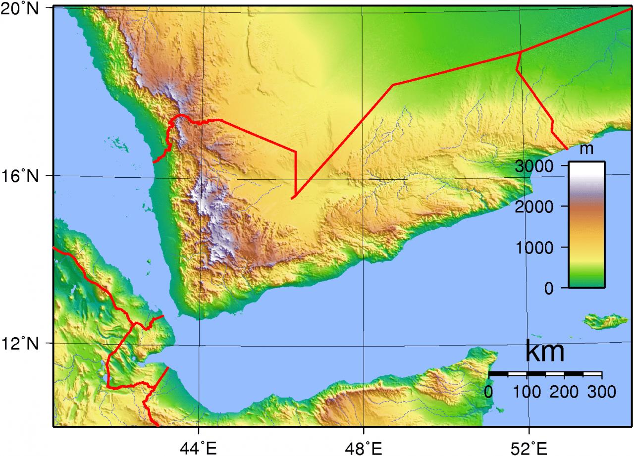 Mapa topograficzna Jemenu
