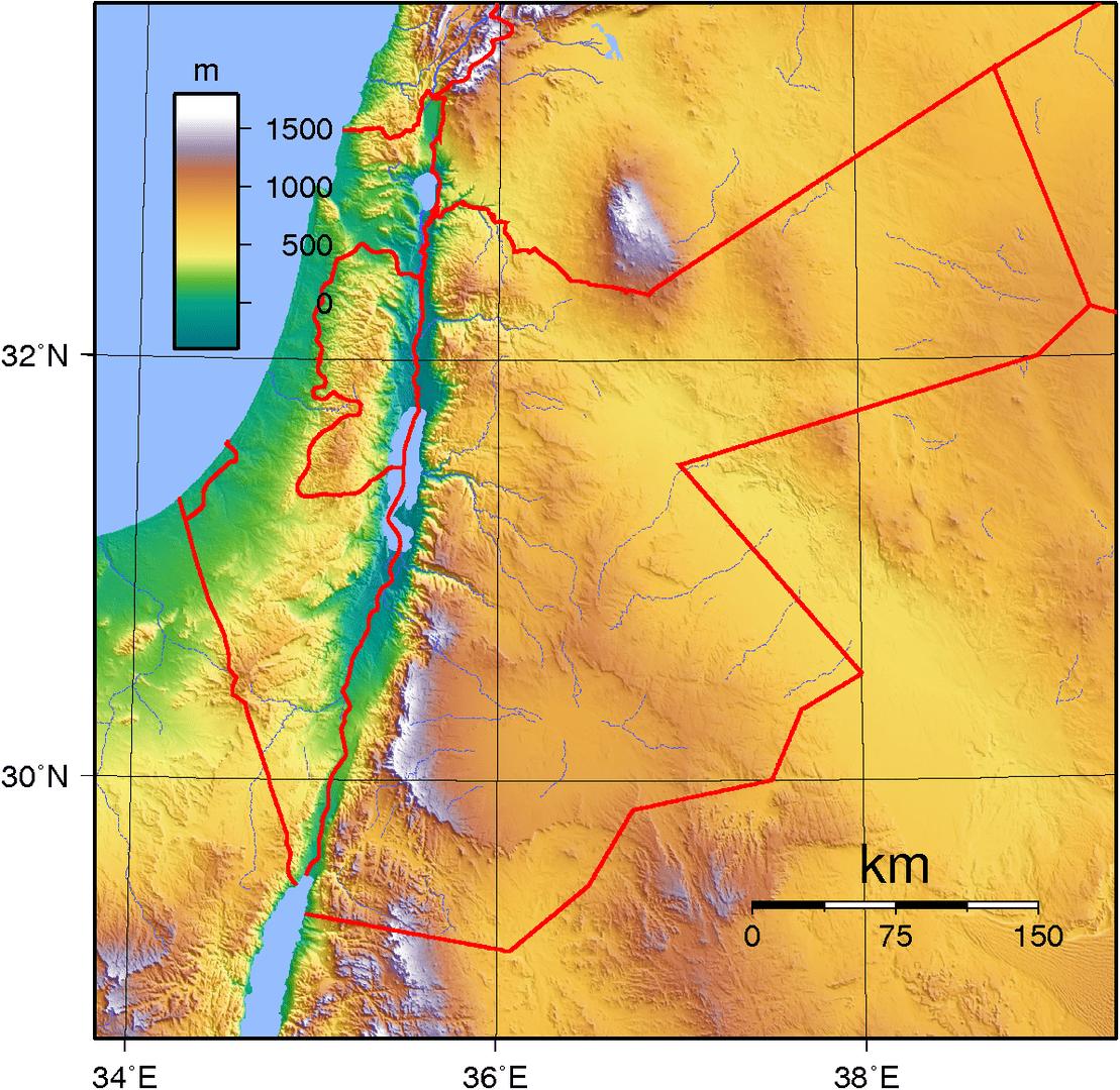 Mapa topograficzna Jordanii