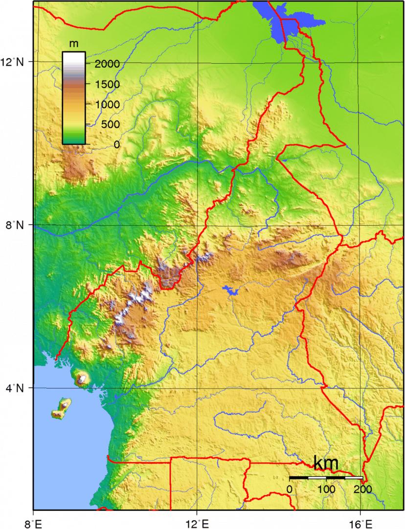 Mapa topograficzna Kamerunu