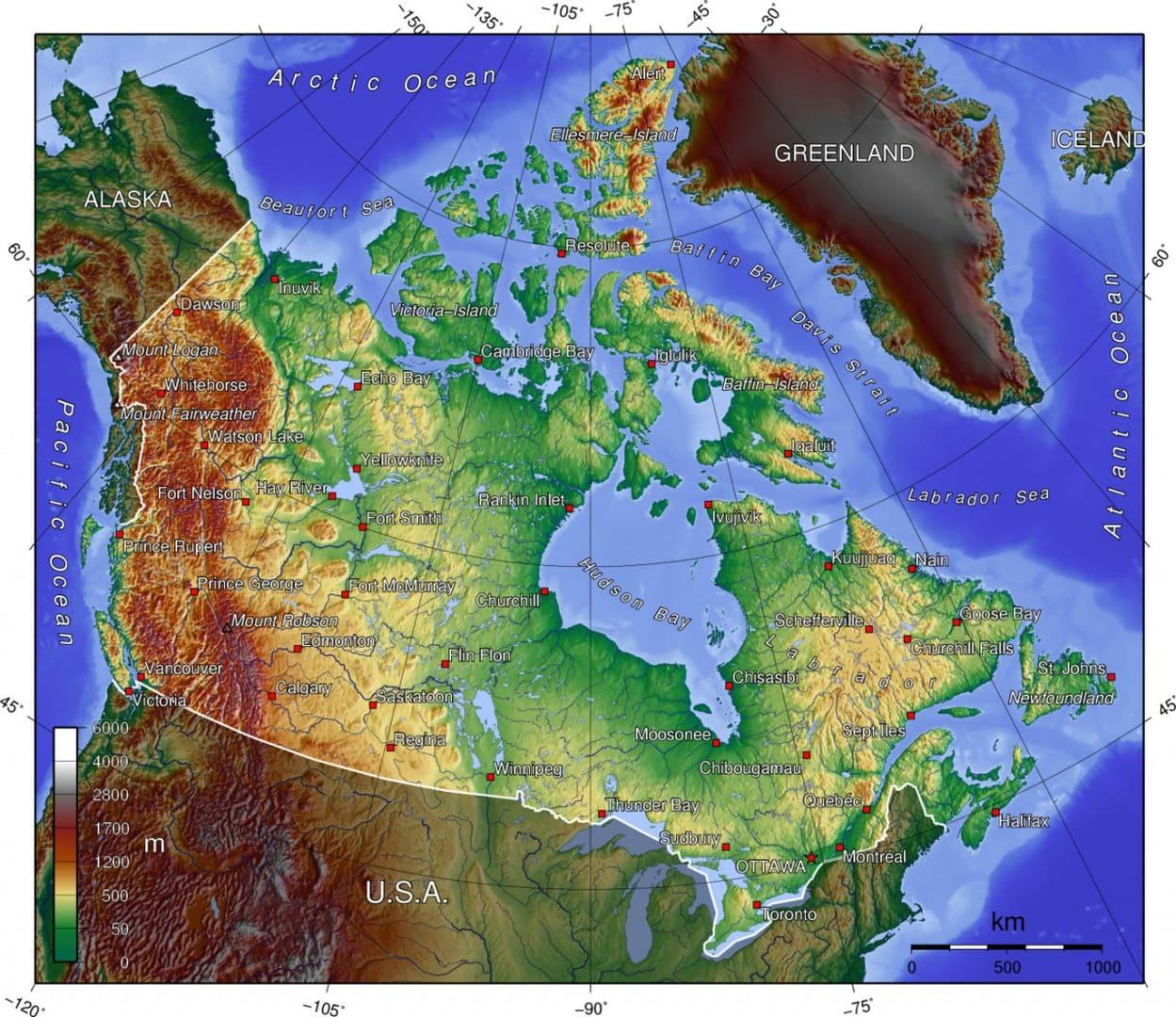 Mapa topograficzna Kanady