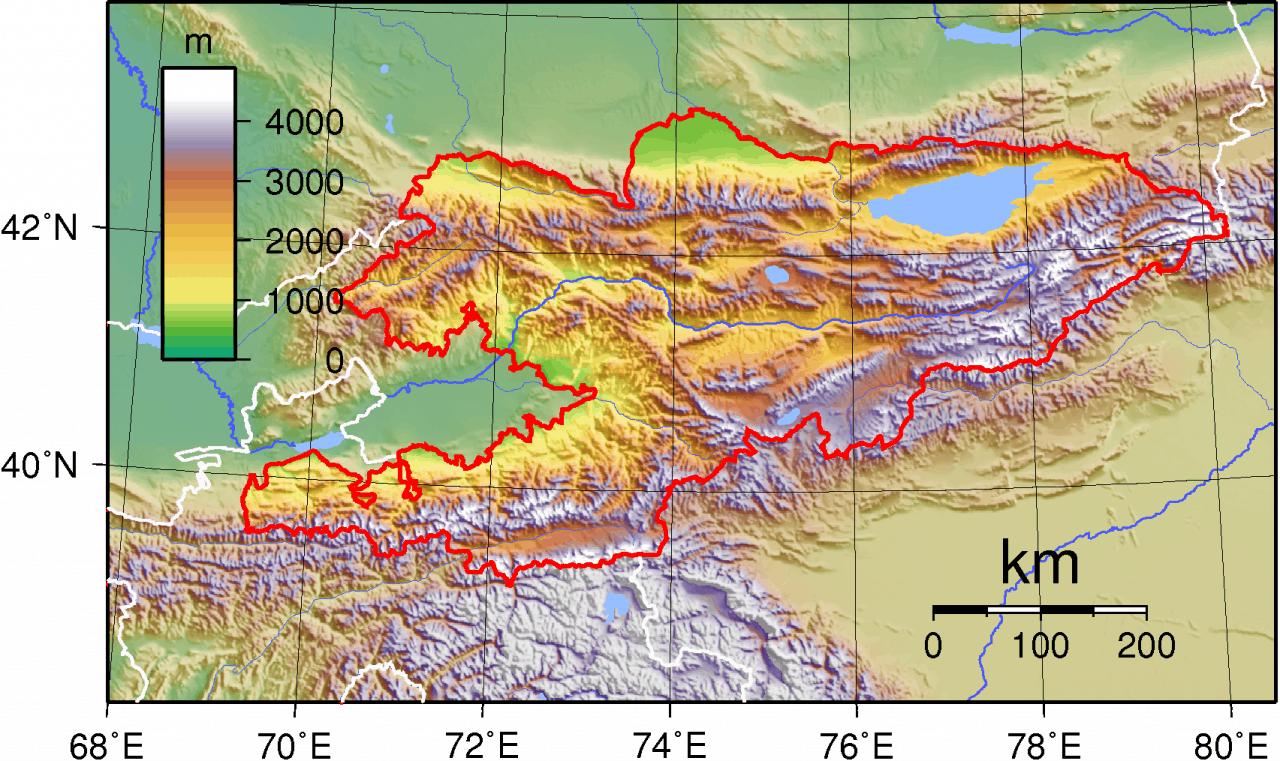 Mapa topograficzna Kirgistanu