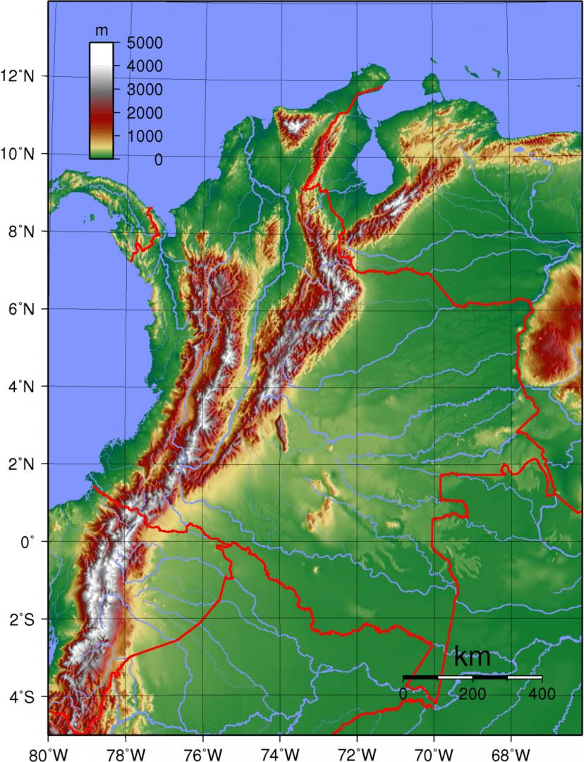 Mapa topograficzna Kolumbii