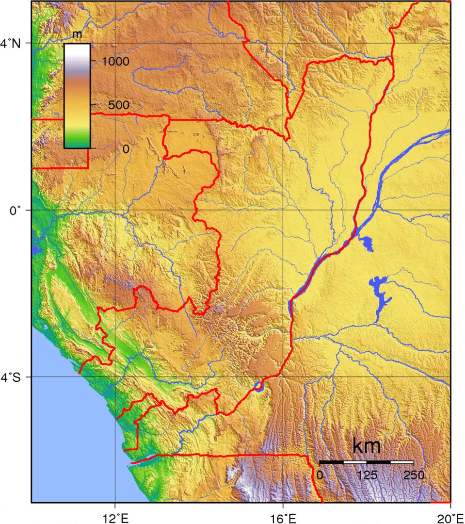 Mapa topograficzna Konga