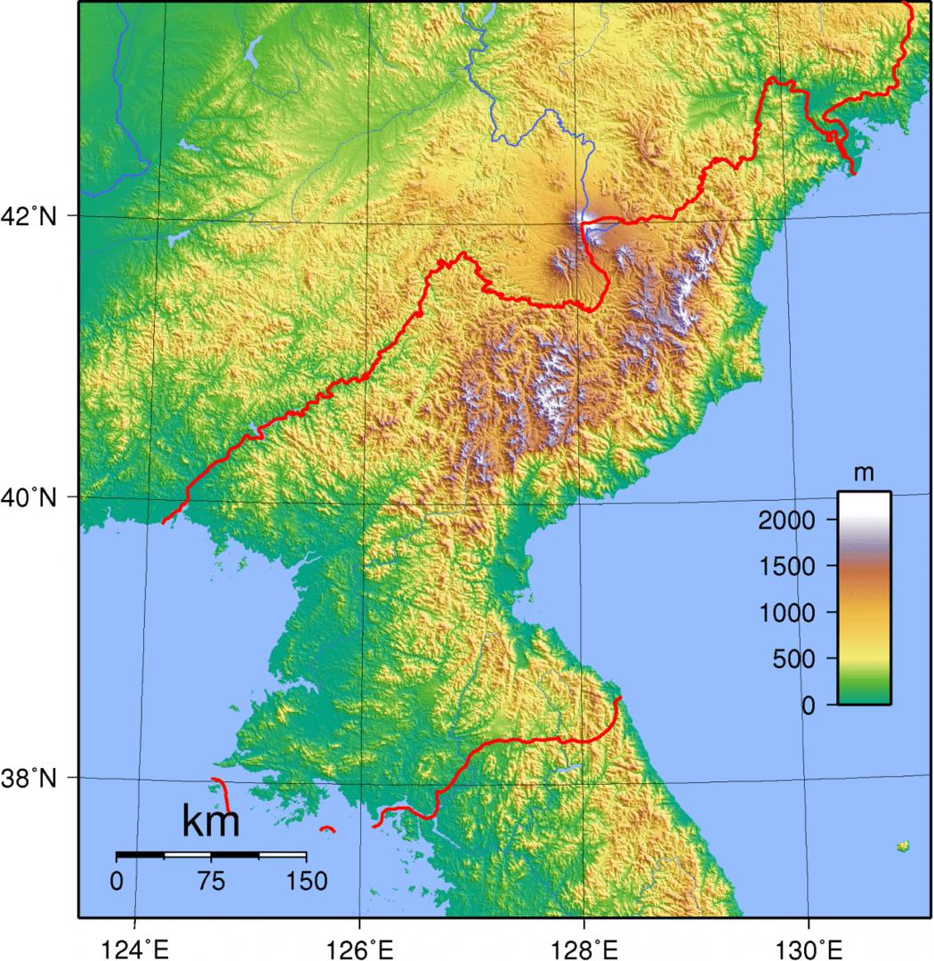 Mapa topograficzna Korei Północnej