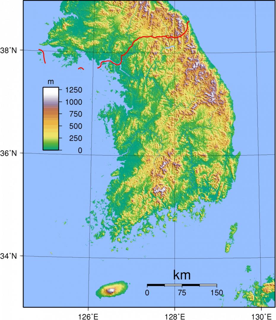 Mapa topograficzna Korei Południowej